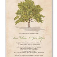 Tree Rustic Wedding Invitation Vintage Wedding Invitation Baby Shower Bridal Shower Green Brown DIY Digital or Printed - Sara & John Style