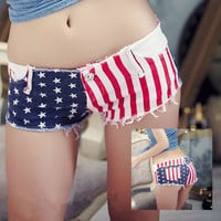 Jeans Short with US Flag 003