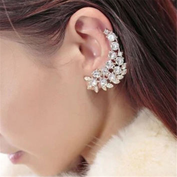 New Fashion Statement Elegant Vintage Punk Gothic Imitation Crystal Rhinestone Ear Cuff Wrap Clip Earrings CC0621