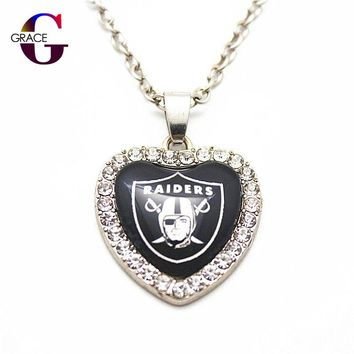 1pcs Fashion Oakland Raiders Football Sports Charms Heart Crystal Necklace Pendant With 50cm Chains For Women Men Diy Jewelry