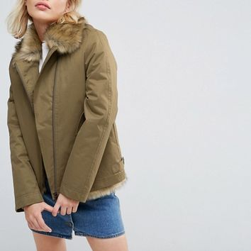 Parka London Aya Faux Fur Lined Lightweight Jacket at asos.com