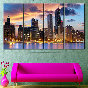 Chicago Canvas, Art Chicago Skyline, Chicago Photo, Chicago Wall Decor, Chicago Poster, Chicago City, Chicago Canvas Print, chicago art