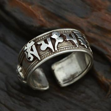Nepalese Om Mani Padme Hum Mantra Pestle Ring 925 Sterling Silver