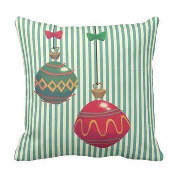 Red and Green Ornaments Green Stripes Pillow