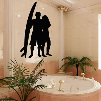 Wall Decals Vinyl Decal Sticker Mural Decor Girl Boy Surfer Surfing Board Kj213