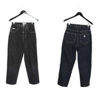 GUESS black mom jeans 80s vintage high waisted dark denim button fly jeans size
