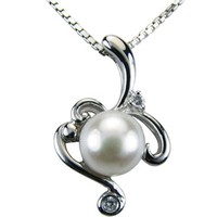 Vine Spiral White Cultured Pearl Cubic Zirconia Rhodium Plated Sterling Silver Pendant Necklace