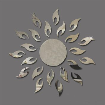Creative Sun Sunshine Fire Sunflower Wall Sticker 3D Mirror Effect Art Mural DIY Removable Decal Stickers Muraux Home Decor