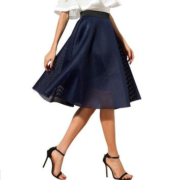 Casual Hollow Out Solid Color Knee Length Skirt
