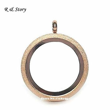 30mm Stainless Steel Sparkl Screw Twist Rose Gold Floating Locket Necklace for Floating Charms LFL_006