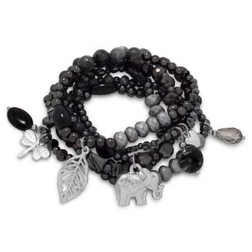 Set of 6 Gun Metal Tone Fashion Stretch Bracelets with Silver Tone Charms