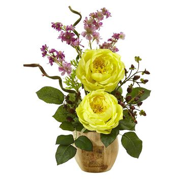 Silk Flowers -Large Rose And Dancing Daisy In Wooden Pot Arrangement