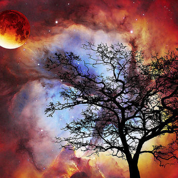 Nightscape Moon Sky Art Abstract PRINT from Painting Modern Landscape Decor Tree Night Silhouette Contemporary Big CANVAS Ready To Hang