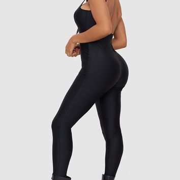 Shape Black Disco Slinky Scoop Back Jumpsuit