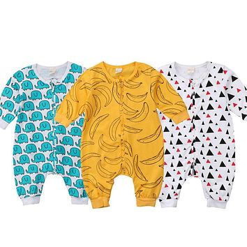 Newborn Clothing  New Infant Baby Boy Girl Kids Zipper Long Sleeve Romper Jumpsuit Cotton Elephant Banana Clothes Outfits