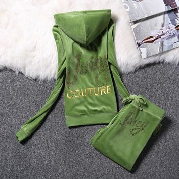 Juicy Couture Logo Velour Tracksuit 2128 2pcs Women Suits Green-1