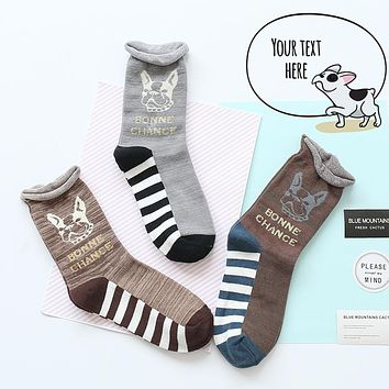 Women Size Short Socks Dog Pet Puppy Animal Pregnant Canary Gold Wires Stripes English French Pit Bull Terrier British Bulldog