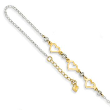 14kt White Gold 9 Inch Two Tone Hollow Heart Charm Ankle Bracelet