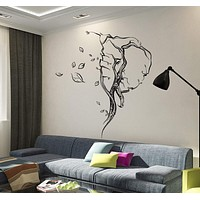 Vinyl Wall Decal Abstract Elephant Head Leaves Animal Stickers Unique Gift (ig4100)