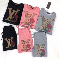 """Louis Vuitton"" Women Casual Fashion Hot Fix Rhinestone Rose Flower Letter Pattern Long Sleeve Cotton Sweater Trousers Set Two-Piece Sportswear"