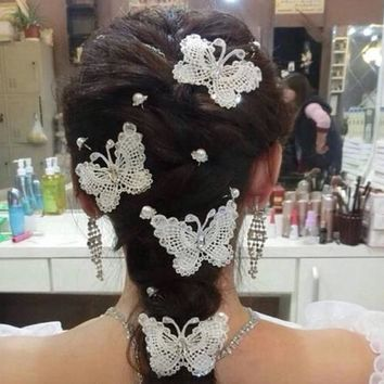 Hot explosion models beautiful handmade jewelry bridal headdress hairpin butterfly hair comb fork  F2011