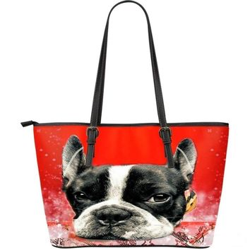 Boston Terrier(Dog) -Large Leather Tote Bag-3D Print-Free Shipping