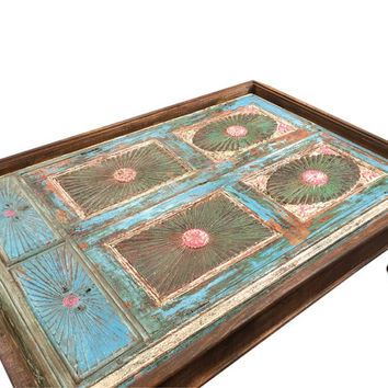Antique Indian Blue Coffee Table Hand Carved Furniture Vintage Table
