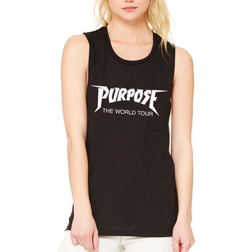 "Justin Bieber ""Purpose The World Tour"" Logo Muscle Tee"