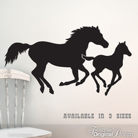 Galloping Horses Vinyl Wall Decal - Mare and Foal / Mother and Baby, Western Home Decor, Horse Bedroom Decor