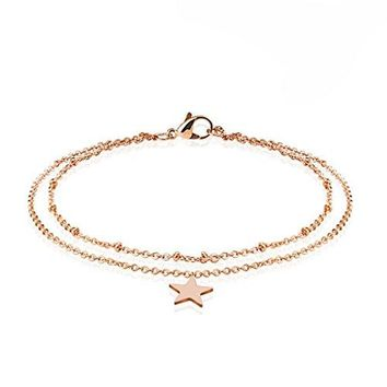 BodyJ4You Anklet Bracelet Star Double Chain Rose Goldtone Stainless Steel Body Fashion Jewelry
