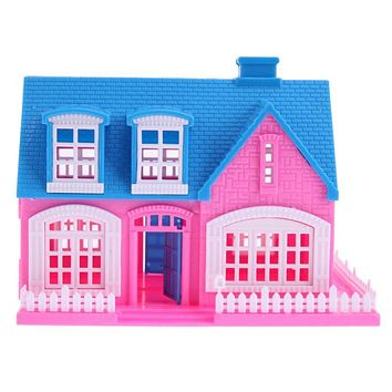 Plastic Puzzled Dolls House Miniature Building House Toys for Girls DIE Doll House for Barbie Doll Kids Toys