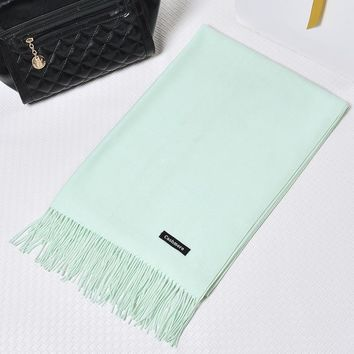 New Fashion Women Men Artificial Cashmere Scarf  Pure Wool Classic Office Lady Scarf Winter Autumn Thick Tassel 70*180CM 269g