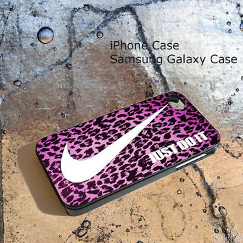 Nike just Do It Leopard pink For iPhone 4/4S/5/5S/5C, Samsung Galaxy S3/S4, iPod Touch 4/5, htc One X/x+/S Case