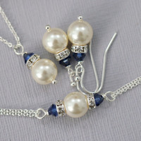 CHOOSE YOUR COLORS Bridesmaid Gift,  Swarovski Ivory Pearl and Dark Sapphire Crystal Bridesmaid Necklace, Earring and Bracelet Set