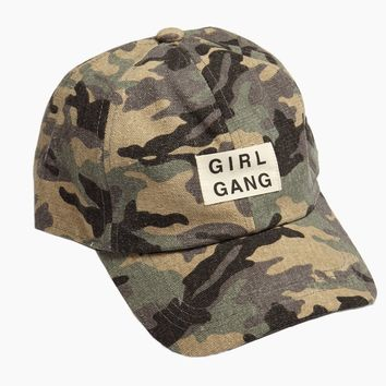 Girl Gang Slogan Baseball Cap - Green Camo