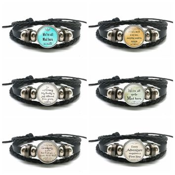 "Cheshire Cat Quotes Bracelet "" We Are All Mad Here "" Glass Dome Snap Button Black Leather Bracelet Alice In Wonderland Jewelry"