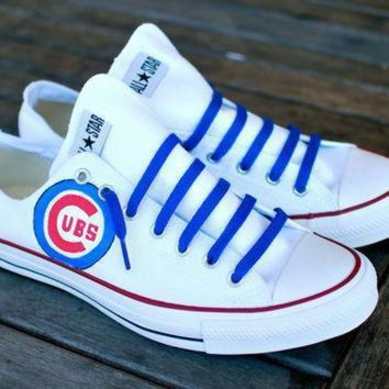 DCCK1IN custom hand painted converse chicago cubs on chuck taylor all star low top sneakers