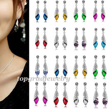 Noble Shining Lovely Elegant Crystal Rhinestone Teardrop Dangle Earrings = 1958155396