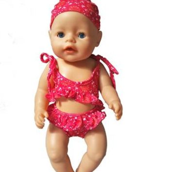 """Swimming Pool beach New Summer set For 18"""" American Girl Doll Bikini + Cap summer Swimming Suit With cap also fit for 43cm Baby born zapf dollsSwimming Pool beach KO_14_1"""