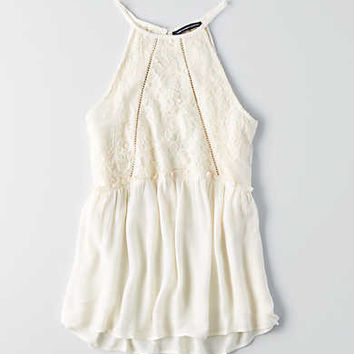 AEO Hi-Neck Lace Cami , Cream