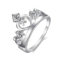 Charm Silver Plated Ladies Crown Ring with Three Rhinestones Birthday/Anniversary/engagement/wedding Bands