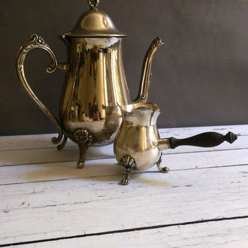 Footed Creamer with wooden handle/ Silverplate creamer with handle/ Silent Butler Creamer/ Footed Silver Creamer