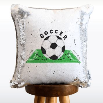 Soccer Mermaid Pillow with White & Silver Reversible Flip Sequins | COVER ONLY (Inserts Sold Separately)