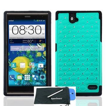 for ZTE Grand X Max Hybrid Diamonds Cover Case Stylus Pen ApexGears (TM) Phone Bag. Teal Black