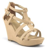 Women's Iynx Gladiator Wedge Sandals Fay Nude