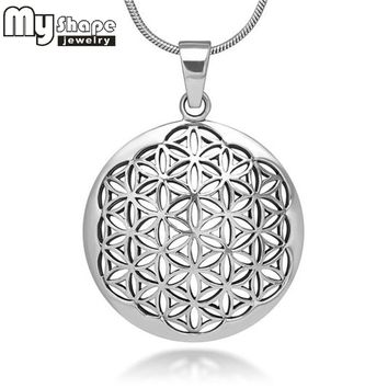 My Shape Flower of Life Mandala Necklace Pendant Jewelry Sacred Geometry Women accessories 3 styles 3 colors and 2 chain choose+