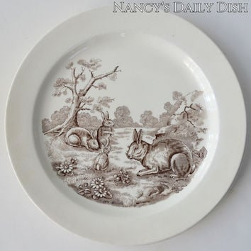 Vintage Brown English Transferware Grazing Bunny Rabbits Plate Copeland Spode