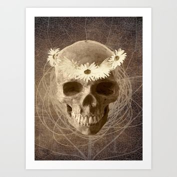 Skull Human Vintage Flowers Digital Collage 2 Art Print by Lora Si