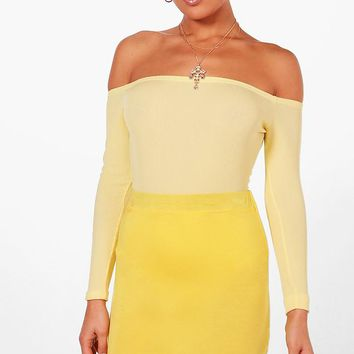 Frances Rib Off The Shoulder Bodysuit | Boohoo