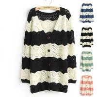 Spell Color Long-Sleeved V-Neck Cardigan Jacket -black